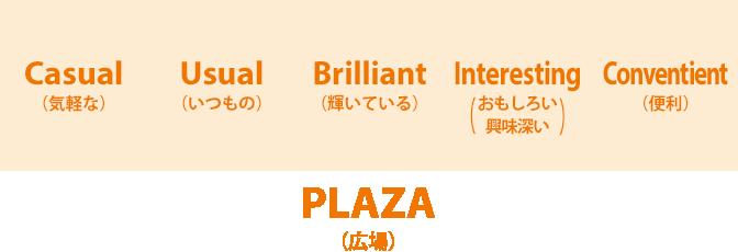 「Casual(気軽な)」「Usual(いつもの)」「Brilliant(輝いている)」「Interesting(おもしろい、興味深い)」「Convenient(便利)」な「PLAZA(広場)」